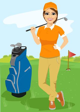 full length portrait of pretty female golfer with golf club standing near blue bag Vectores