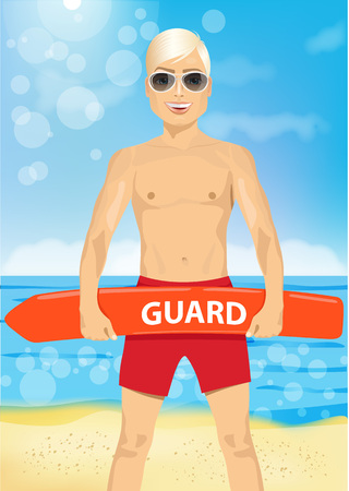 handsome guy: male young lifeguard with sunglasses holding a rescue can on the beach Illustration