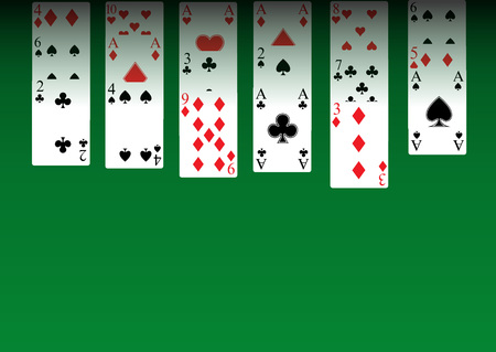 solitaire: Solitaire - playing cars on green table and copyspace for text Illustration