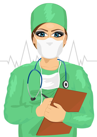 girl stethoscope: female doctor or nurse in green scrubs and face mask taking notes isolated on white background