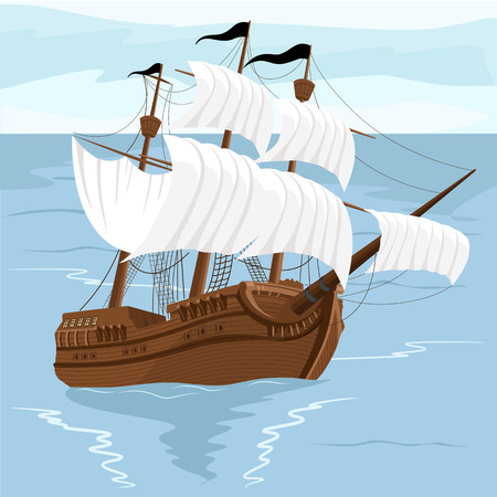 tall ship: Old ship with white sales, sailing in the sea