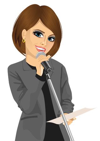 Retrato de la mujer que habla en un Attarctive documentos que sostienen el micrófono. Aislado en el fondo blanco Ilustración de vector