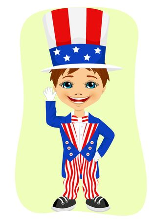 dressed: Young boy dressed up like Uncle Sam. 4th of july costume Stock Photo