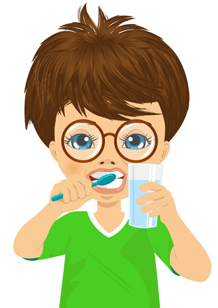 cute little boy: Cute little boy with glasses brushing teeth and holding glass of water, isolated on white