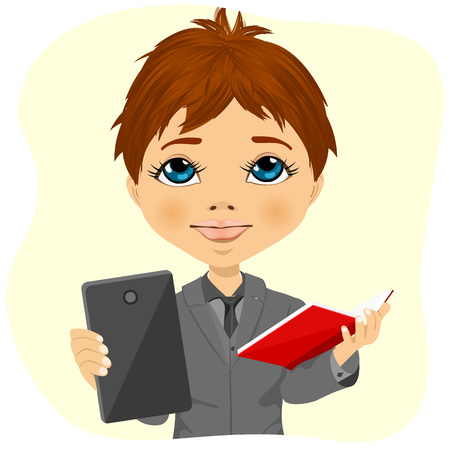 schoolboy: little schoolboy choosing between tablet and books isolated on white background
