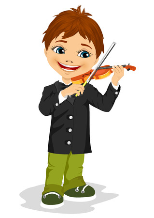 fiddle bow: full length portrait of cute boy playing violin isolated on white background