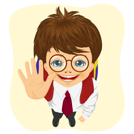 fingers on top: top view of schoolboy with glasses showing five fingers isolated on white background