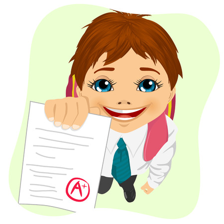 brunets: top view of schoolboy showing his test paper isolated on green background Illustration