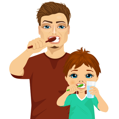 two children: father and son brushing teeth isolated on white background Illustration
