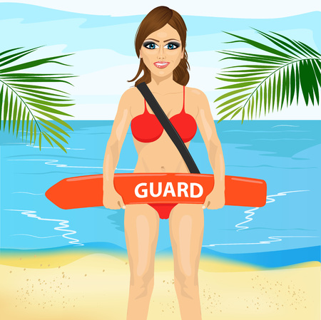 duty: Young woman female lifeguard on duty holding float lifesaver equipment on the beach. Accident prevention and water rescue