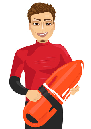 baywatch: male lifeguard holding a rescue can isolated on white background Illustration