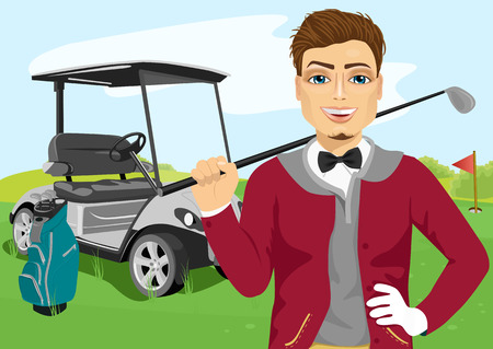Portrait of handsome male golfer with golf club standing near cart Ilustração