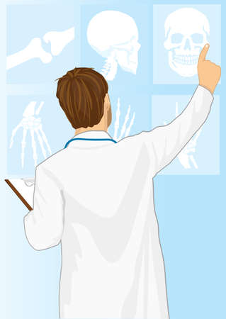 tomography: Medical doctor man pointing on tomography, rear view Illustration