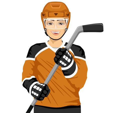 male ijshockey-speler met een ijshockey-stick op een witte achtergrond
