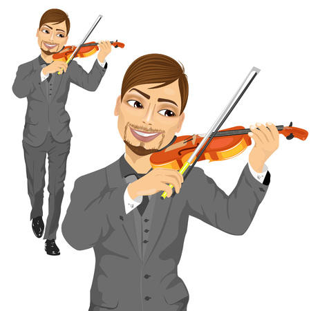 Young male violinist playing an acoustic violin walking forward isolated on white background