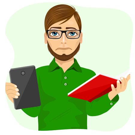 student with books: student boy with glasses choosing between tablet and books