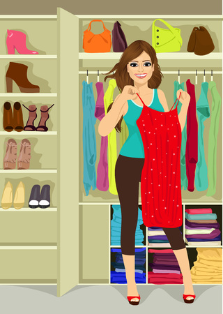 red glittery: woman standing near a closet holding a red glittery dress