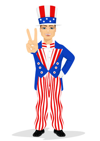 dressed: handsome man dressed up like Uncle Sam showing victory sign hand gesture. 4th of july costume Illustration