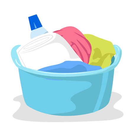 basin: basin full of laundry and detergents isolated on white background