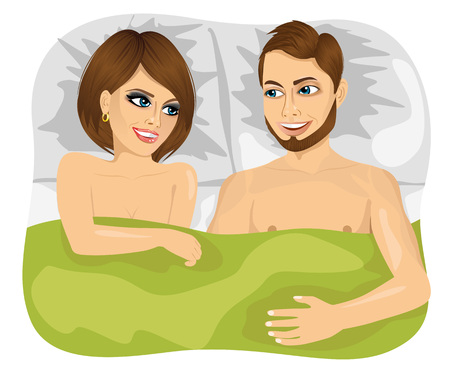 marriage bed: top view of young happy couple in bed looking at each other