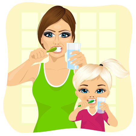 morning routine: mother and daughter brushing teeth holding glass of water in bathroom Illustration