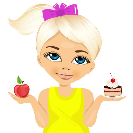 blonde: portrait of doubtful little girl holding a red apple and dessert trying to decide which one to eat
