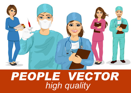 scrubs: doctors, surgeons and nurses with stethoscope in multi colored scrubs holding syringe, clipboard and stack of folders Illustration