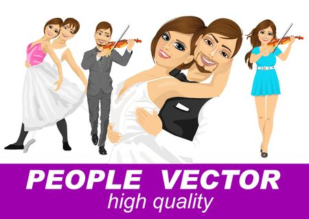 violinist: bride and groom hugging, ballet couple, male and female violinist
