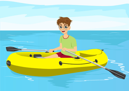 teenager boy with glasses in yellow rubber boat rowing