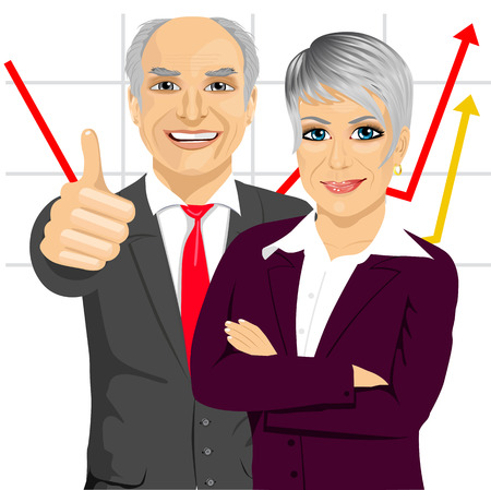 arms folded: senior business people partners standing together with arms folded and giving thumbs up in front of line chart Illustration