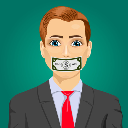 bribery: Closeup portrait handsome young corrupt man wuth hundred dollar bill taped to mouth. Bribery concept in politics, business, diplomacy.