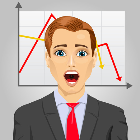 economic crisis: portrait of emotional crying businessman in economic crisis with line graph showing negative trend Illustration