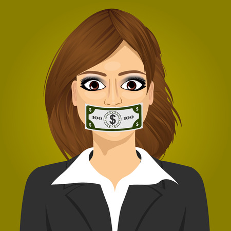 bribery: Closeup portrait young business woman wuth hundred dollar bill taped to mouth. Bribery concept in politics, business, diplomacy.