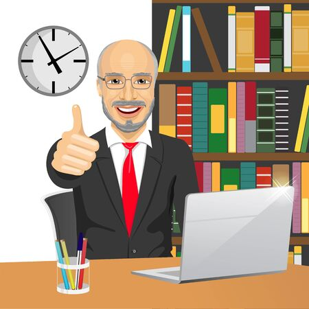 old desk: successful senior businessman making thumbs up hand sign at his office while working with laptop Illustration