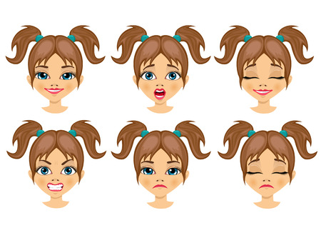 set of teenager girl avatar expressions isolated over white background Ilustração