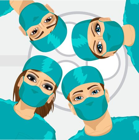 bottom: Bottom view of group of surgeons in operation