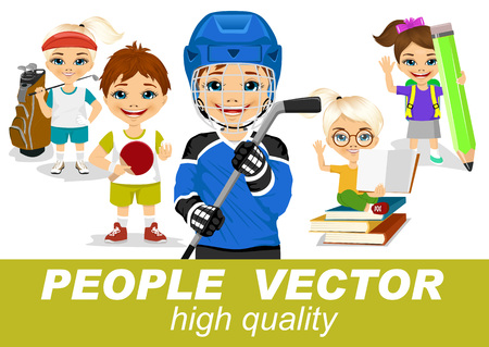 blonde teenage girl: people vector - little female golfer, boy with table tennis racket, young hockey player, girl sitting on stack of books holding big pencil