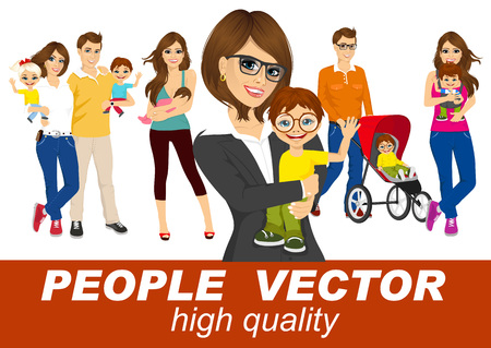 maternity leave: people vector with men and woman holding their babies smiling Illustration