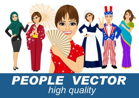 아메리칸, 인도, 아라비안, 일본과 중국의 전통 의상, 순례자들 일러스트