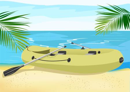 floats: illustration of rubber boat on the sea shore Illustration