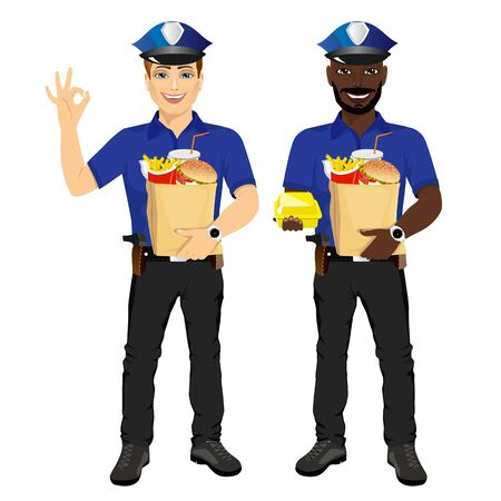 policemen: two policemen holding paper bags full of fast food and  showing ok gesture isolated on white background