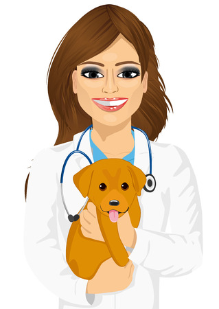 attractive young female veterinarian hugging cute little dog isolated on white background