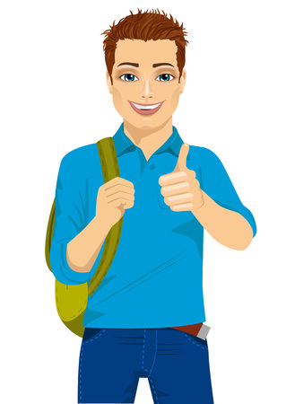 go back: handsome student showing thumbs up hand sign ready to go back to college Illustration