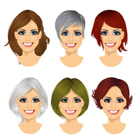 set of middle aged woman avatar with different hairstyles isolated on white background