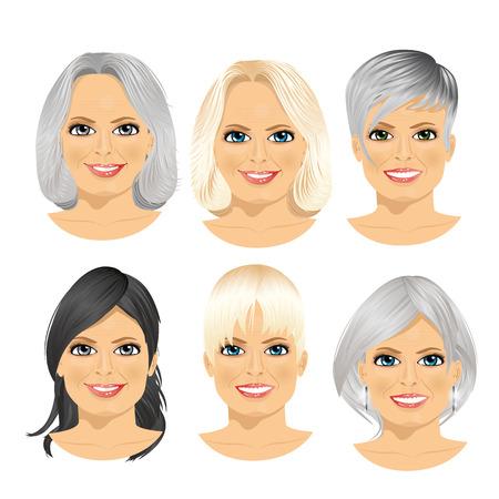 set van rijpe vrouw avatar met verschillende kapsels op een witte achtergrond