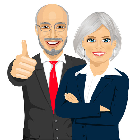 happy business man: senior business people partners standing together with crossed arms and giving thumbs up Illustration
