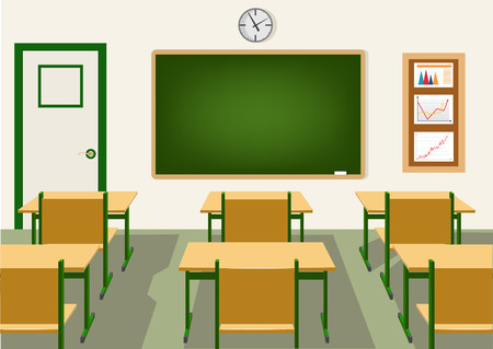 lecture hall: empty school classroom with blackboard and desks
