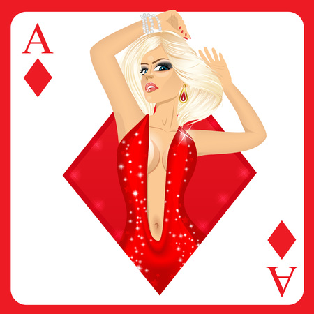 ace of diamonds: attractive blonde woman representing ace of diamonds card from poker game