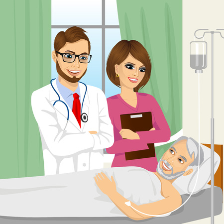 woman lying in bed: young doctor and nurse visiting a senior old man patient lying down on hospital bed receiving intravenous