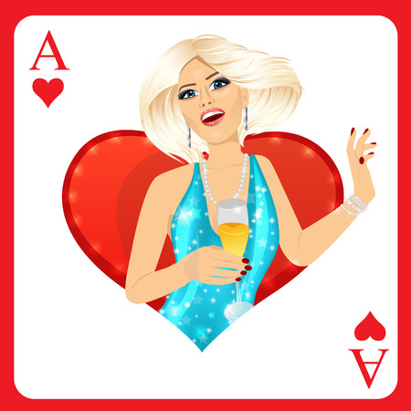 ace of hearts: attractive blonde woman representing ace of hearts card from poker game